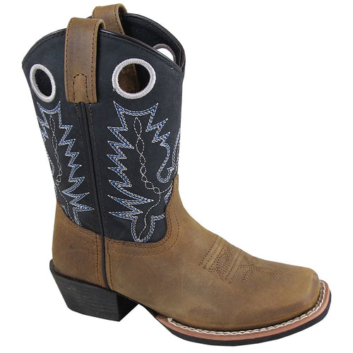 Smoky Mountain Youth Brown Distress/Black Square Toe Boot