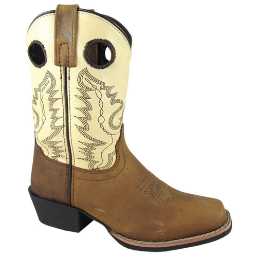 Smoky Mountain Children's Brown Distress/Cream Square Toe Boot