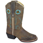 Smoky Mountain Children's Brown Distress Square Toe Boot W/ Wing Tip