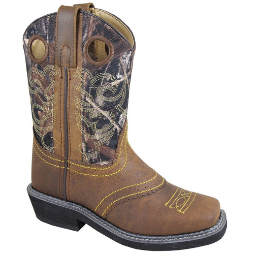 Smoky Mountain Youth Brown Oil Distress/Camo Square Toe Boot
