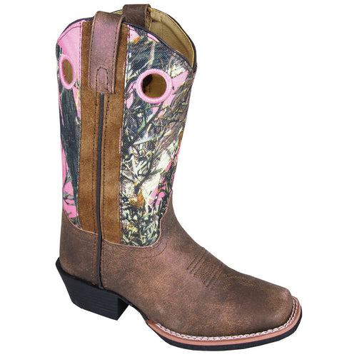 Smoky Mountain Girl's Children's Mesa Brown Distress/Pink Camo Cowboy Boot