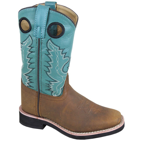 Smoky Mountain Youth Pueblo Brown Oil Distress/Turquoise Cowboy Boot