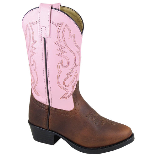 Smoky Mountain Girl's Youth Denver Brown Pink Cowboy Boot
