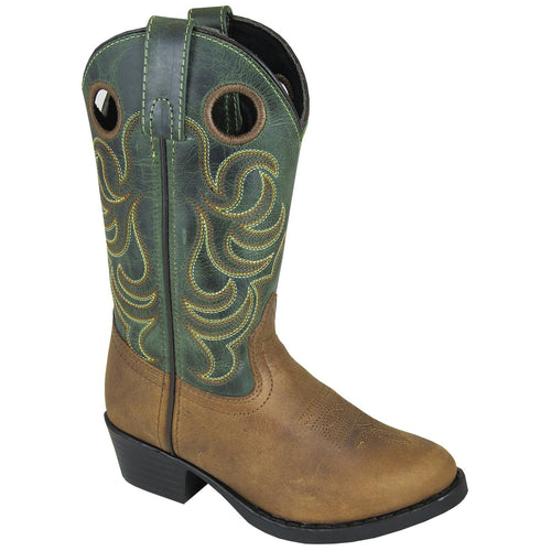 Smoky Mountain Toddler Hopalong Brown Distress/Green Crackle Cowboy Boot