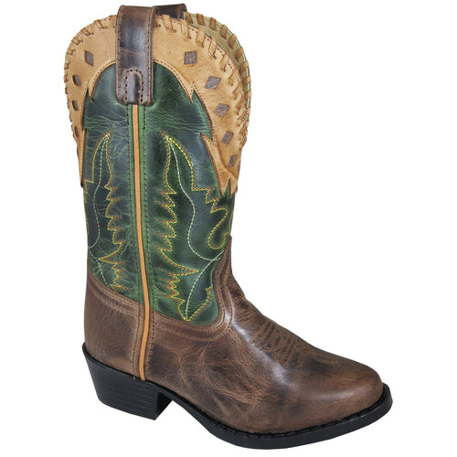 Smoky Mountain Youth Reno Brown Distress/Green Crackle Cowboy Boot