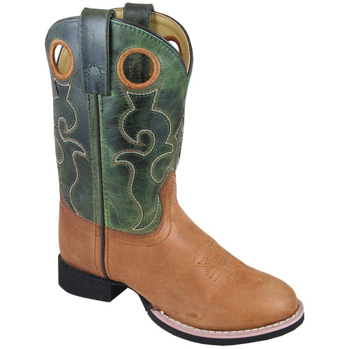 Smoky Mountain Youth Rick Brown Waxed/Green Crackle Cowboy Boot