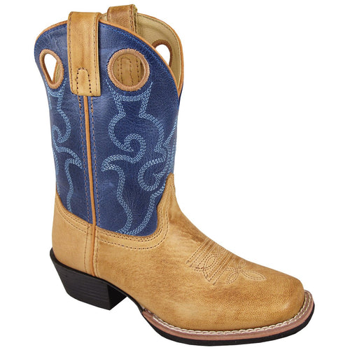 Smoky Mountain Youth Clint Bomber Tan/Blue Cowboy Boot