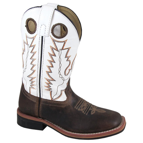 Smoky Mountain Children's Jesse Brown Waxed/White Cowboy Boot