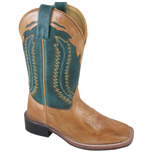 Smoky Mountain Children's Frank Bomber Tan/Green Cowboy Boot