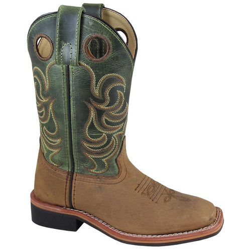 Smoky Mountain Youth Jesse Brown Distress/Green Crackle Cowboy Boot