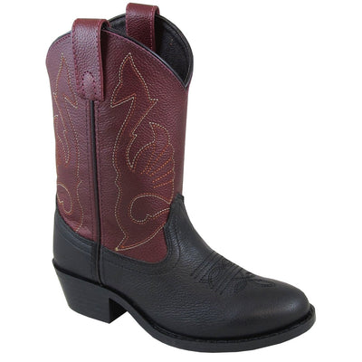 Smoky Mountain Youth Cisco Black/Plum Cowboy Boot