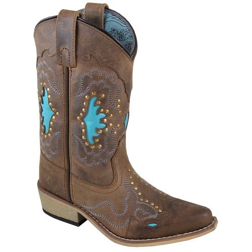 Smoky Mountain Girl's Youth Moon Bay Brown Distress/Turquoise Cowboy Boot