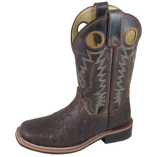 Smoky Mountain Youth Cheyenne Tobacco/Brown Crackle Square Toe Boot