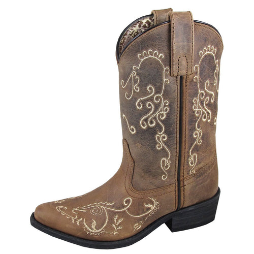 Smoky Mountain Girl's Youth Jolene Brown Waxed Distress Cowboy Boot