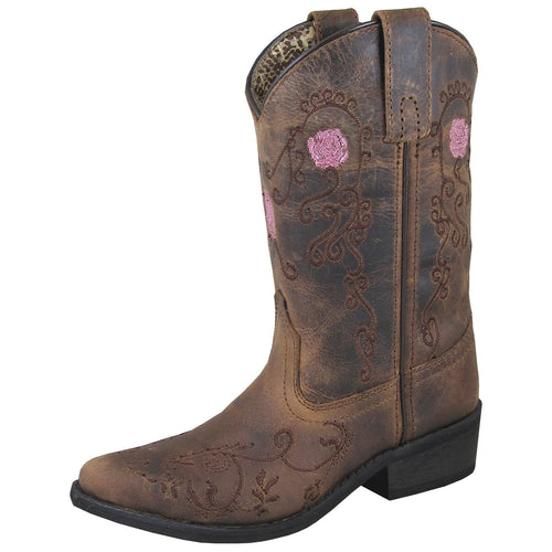 Smoky Mountain Girl's Children's Rosette Brown Oil Distress Cowboy Boot