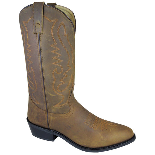 Smoky Mountain Men's Oiled Distress Brown Western Boot