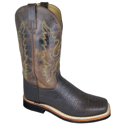 Smoky Mountain Men's Dark Brown/Brown Crackle Sq Toe Boot