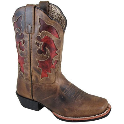 "Smoky Mountain Women's Claire 9"" Brown Waxed Distress Cowboy Boot"