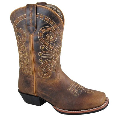 "Smoky Mountain Women's Shelby 9"" Brown Waxed Distress Cowboy Boot"