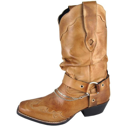 Smoky Mountain Women's Bomber Tan Slouch Boot Square Toe W/Harness