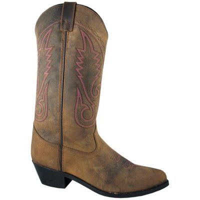 "Smoky Mountain Women's Brown Western 12"" Dark Crazy Horse Cowboy Boot"