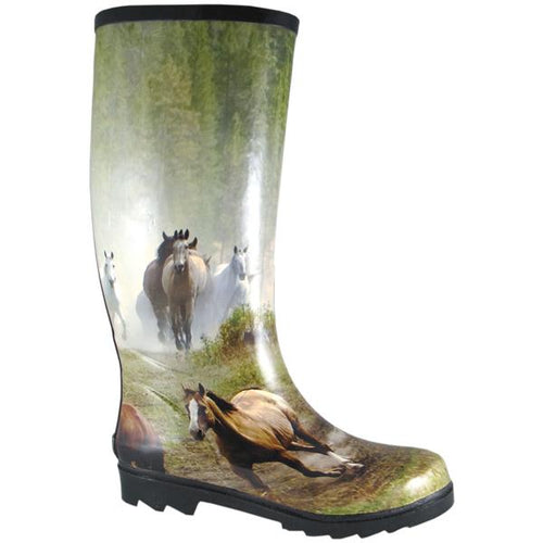 Smoky Mountain Women's Rubber Boot With Horse Print