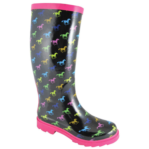 Smoky Mountain Women's Black Rubber Boot With Multi Color Ponies