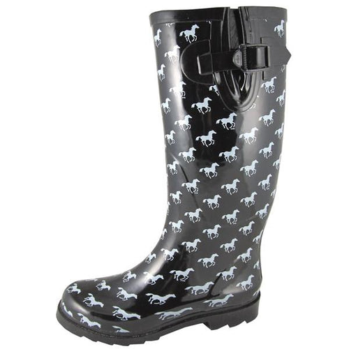 Smoky Mountain Women's Black Rubber Boot With White Ponies