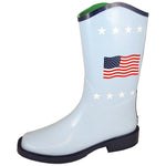 "Smoky Mountain Women's 10"" Blue Square Toe Rubber Boot W/ American Flag"