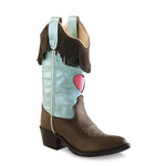 Old West Children's Narrow J Toe Boots - Brown Varona & and Silver Light Blue