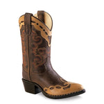 Old West Children's Narrow J Toe Boots - Brown Canyon & with Tan Canyon Overlay