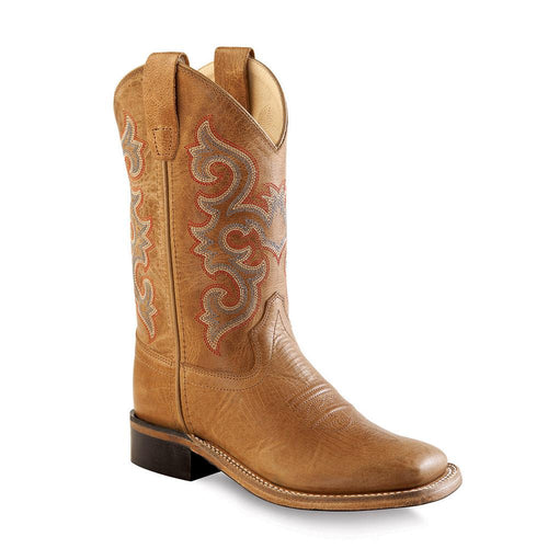 Old West Youth's Broad Square Toe Boots - Tan Fry