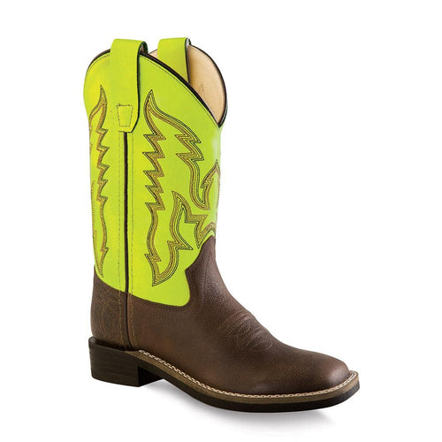 Old West Children's Ultra Flex Broad Square Toe Boots - Brown Truffle & Light Green