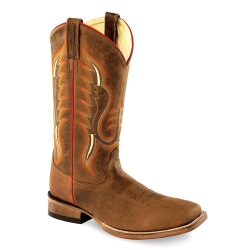Old West Men's Broad Square Toe Boots - Brown Oily / Copper Caprice