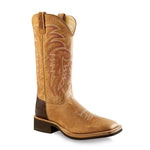 Old West Men's Broad Square Toe Boots - Tan Fry / Brown Tumble