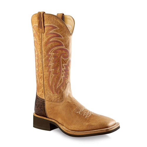 5fb2c92476d Old West Men's Broad Square Toe Boots - Tan Fry / Brown Tumble