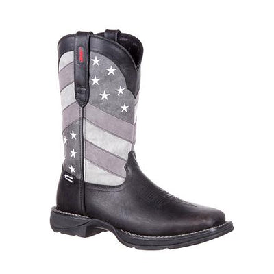 Durango Men's Black and Grey Faded Flag Cowboy Boots