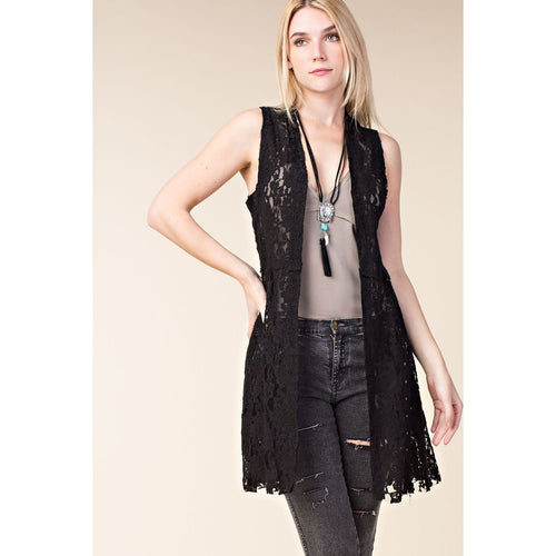 Vocal Women's Mid Length Lace Vest - Black