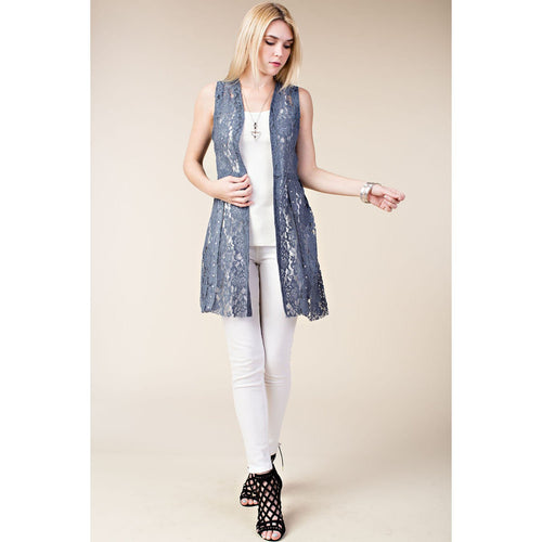 Vocal Women's Mid Length Lace Vest - Blue