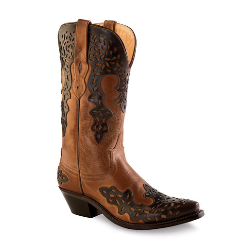 Old West Women's Snip Toe Fashion Wear Boots - Burnwood & with Brown Overlay