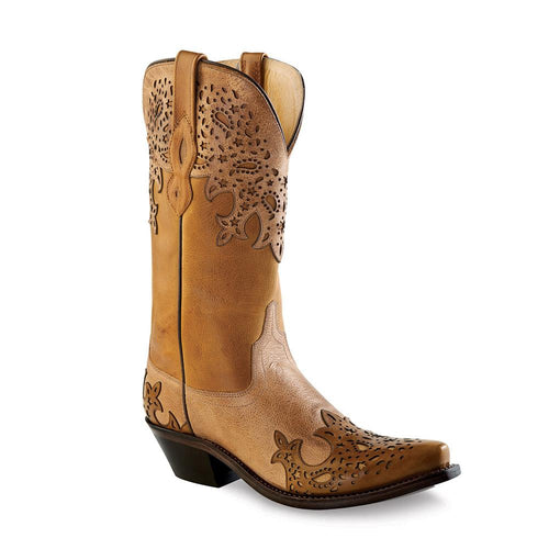 Old West Women's Snip Toe Fashion Wear Boots - Tan Fry &Coliar with Light Tan and Wingtip