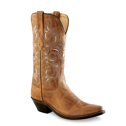 Old West Women's Snip Toe Fashion Wear Boots - Tan Fry
