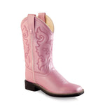 Old West Children All Over Leatherette Material Broad Square Toe Boots - Leatherette Shiny Pink