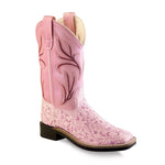 Old West Children All Over Leatherette Material Broad Square Toe Boots - Leatherette Flower Print