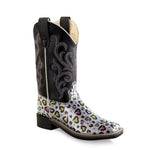 Old West Children All Over Leatherette Material Broad Square Toe Boots - Leatherette Heart Print