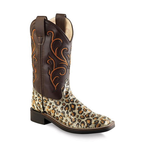 Old West Children All Over Leatherette Material Broad Square Toe Boots - Leatherette Leopard Print