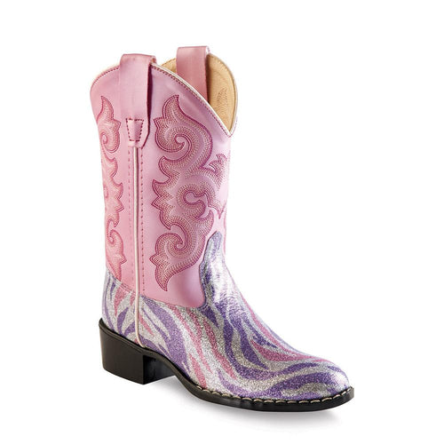 Old West Children All Over Leatherette Material Broad Square Toe Boots - Leatherette Glint Print