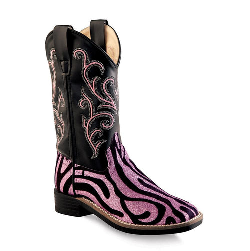 Old West Children All Over Leatherette Material Broad Square Toe Boots - Leatherette Zebra Glint Print