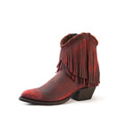 Redneck Riviera Women's Braided Fringe Shortie - Distressed Red - French's Boots