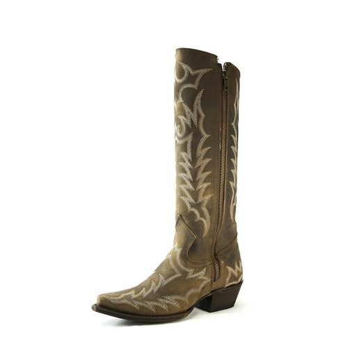 Redneck Riviera Women's Tall Snip Toe Boot with Zipper - Brown